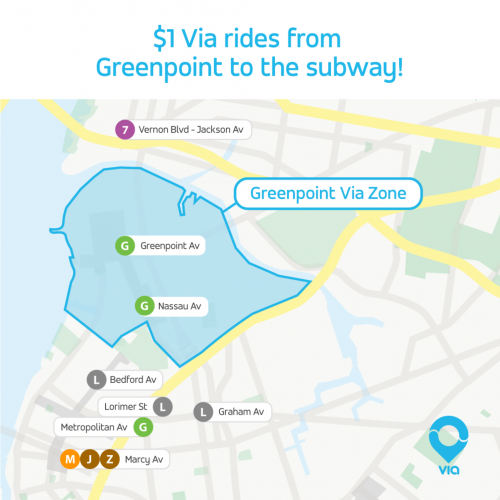 Greenpoint Brooklyn Subway Map.Via Now Gets You To The Subway For Just 1 Yes 1 Until 3 12