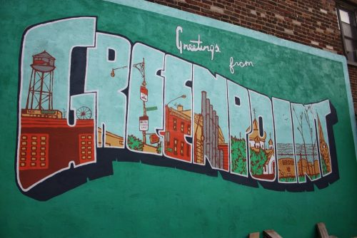 "TBD Brooklyn's ""Greetings From Greenpoint"" mural, by Vincent Sacco and Aubrey Roemer"