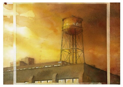 Watercolor of Greenpoint water tower, by Sven Johnson