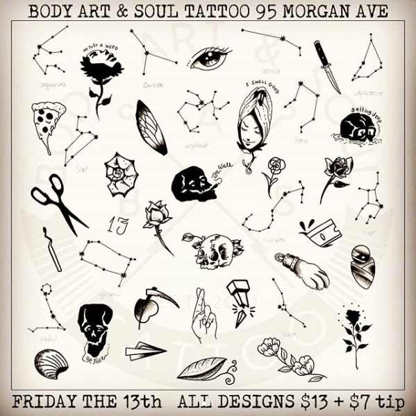 Flash designs at Body Art & Soul Tattoo in Bushwick, for Friday the ...