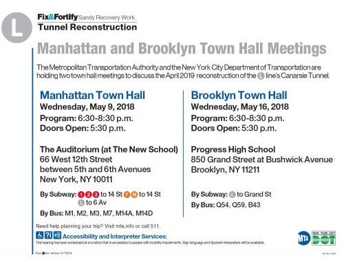 L train shutdown meeting flyer